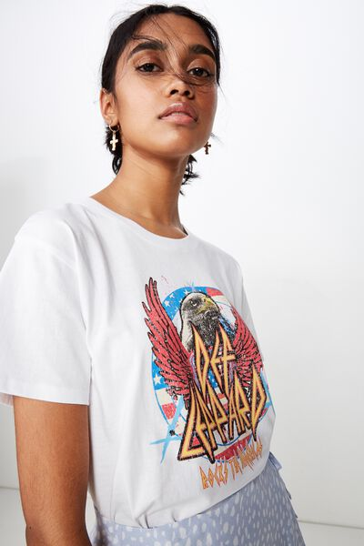 The Kendall Graphic Tee, WHITE/DEF LEPPARD