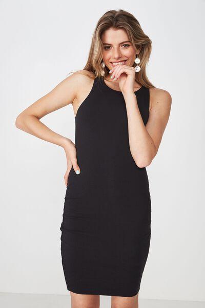 High Neck Mini Dress, BLACK