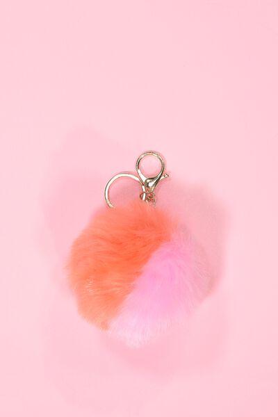 Multi Faux Fur Keyring, PINK/CORAL