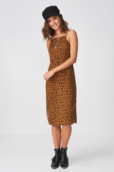 Phoenix Strappy Midi Dress, SPOT LEOPARD