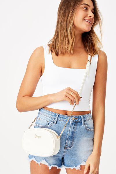 Customised Josie Cross Body Bag, WHITE PEBBLE