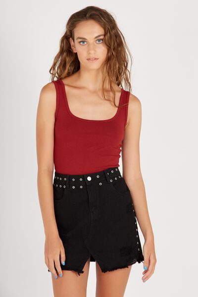 Winona Stud Denim Skirt, BLACK