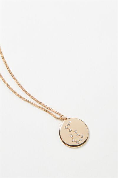 Horoscope Necklace, AQUARIUS/GOLD