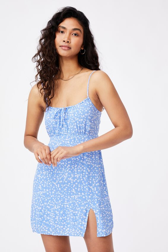 Juliana Tie Front Mini Dress, MIMI FLORAL IRIS BLUE