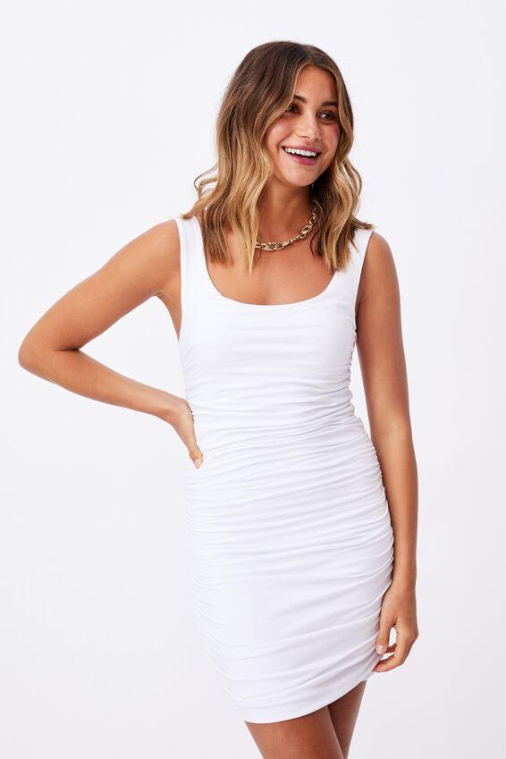 Avah Ruched Mini Dress, WHITE