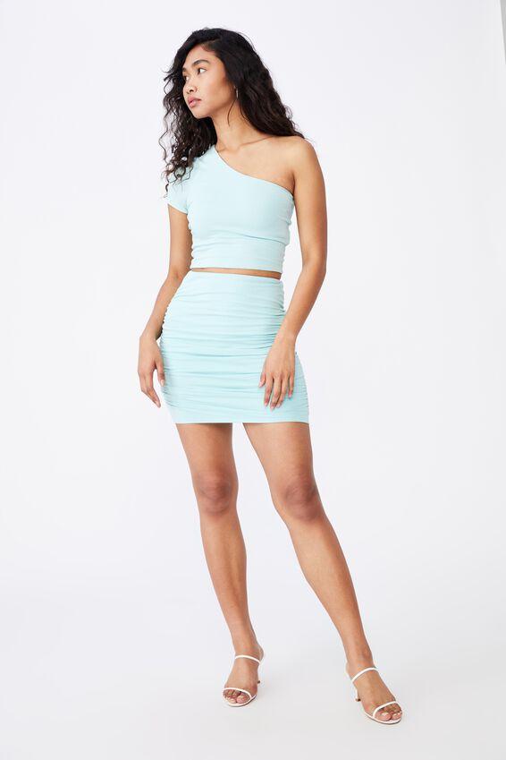 Kinsley Short Sleeve One Shoulder Top, REEF BLUE