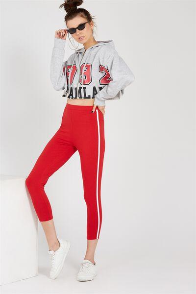 The Side Stripe Legging, RED
