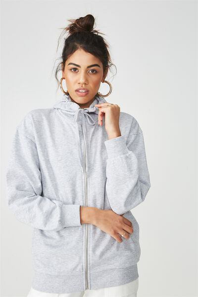 Oversized Zip Through Hooded Sweat, GREY MARLE