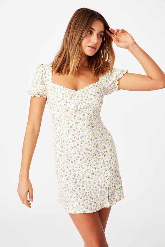 Margot Mini Dress, DAPHNE FLORAL WHITE