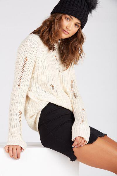 Longline Distressed Knit Top, CREAMY OAT