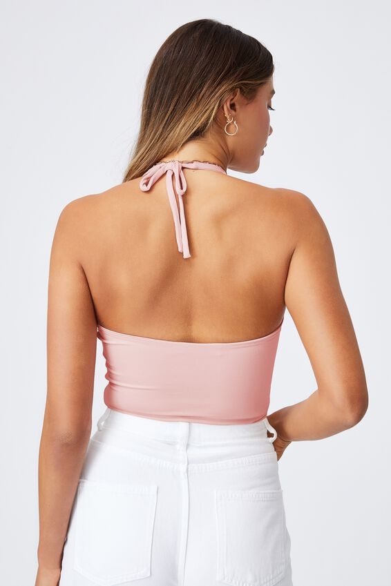 Lily Halter Neck Cut Out Top, CHIC PINK
