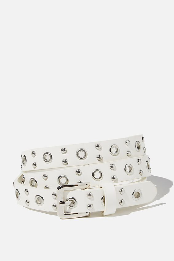 Mini Square Stud Belt, WHITE SILVER