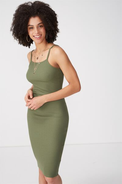 Square Neck Rib Midi Dress, KHAKI
