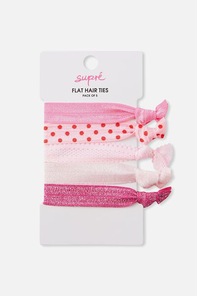 Flat Hair Tie Pack, STRAWBERRY DREAMS
