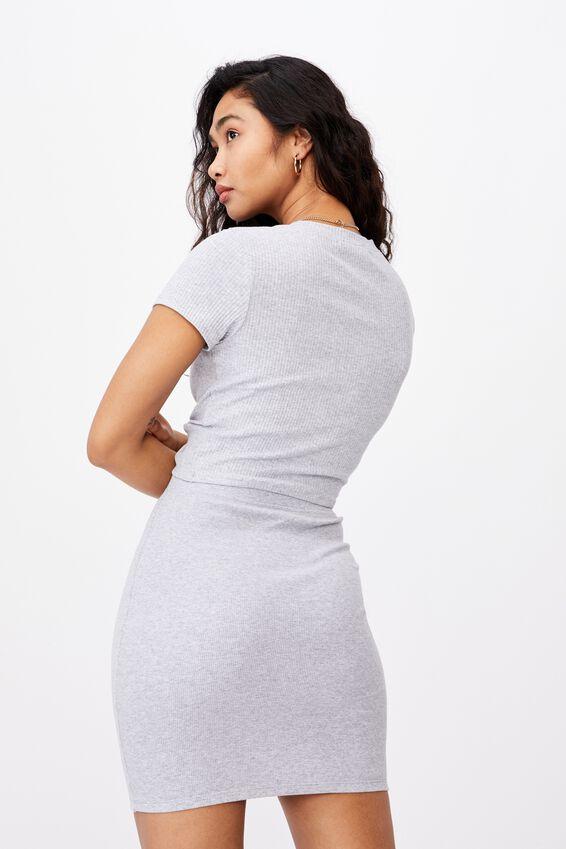 Kennedy Rib Mini Skirt, GREY MARLE
