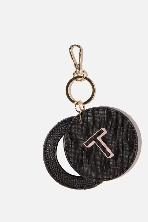 Personalised Key Ring With Mirror, BLACK TEXTURE