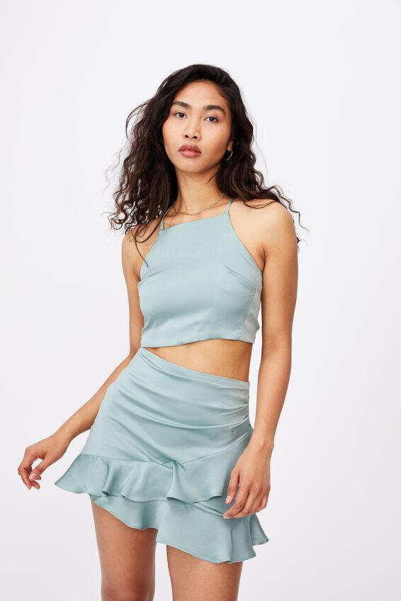 Gwen Tie Back Top Co Ord, SOFT MOSS