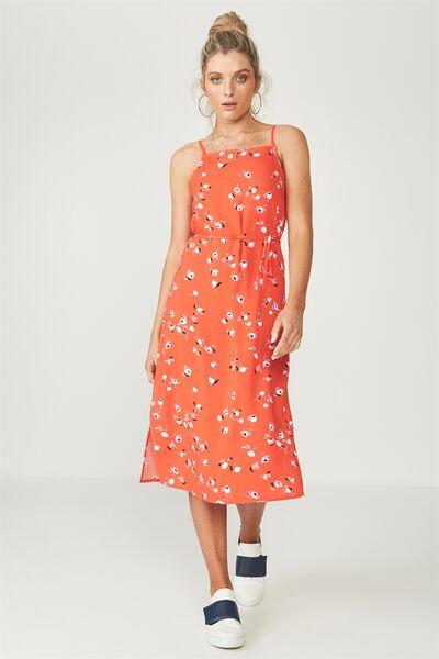 Phoenix Strappy Midi Dress, CONFETTI FLORAL TANGERINE