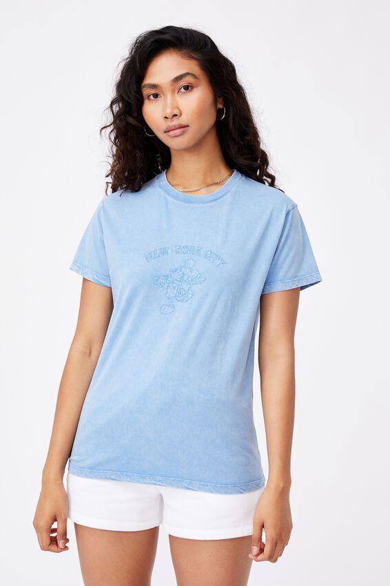 NYC Mickey Mouse T Shirt, VINTAGE WASH CAROLINA BLUE/LCN DIS MICKEY NYC