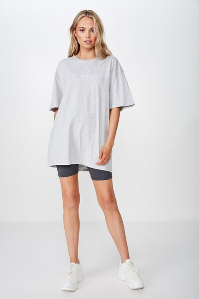 Oversized Graphic Tee, GREY MARLE/LA MODA