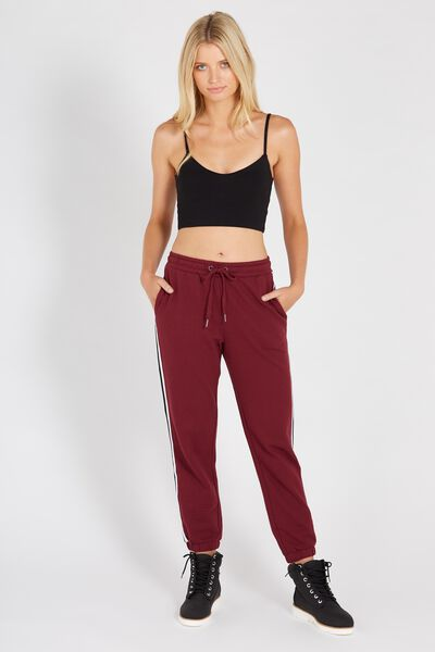 Basic Side Stripe Sweat Pant, BURGUNDY