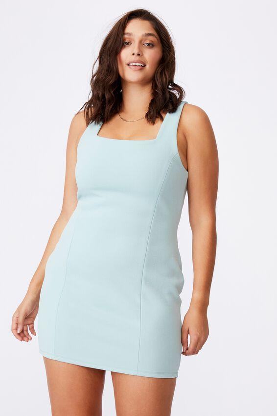 Ivanna Wide Strap Ponte Dress, SOFT MOSS
