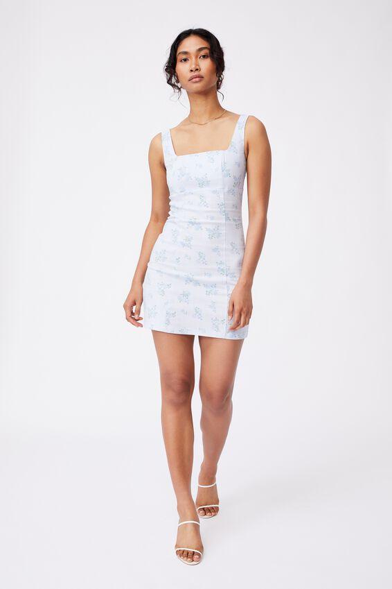 Capri Fitted Square Neck Mini Dress, EVE FLORAL ARTIC BLUE