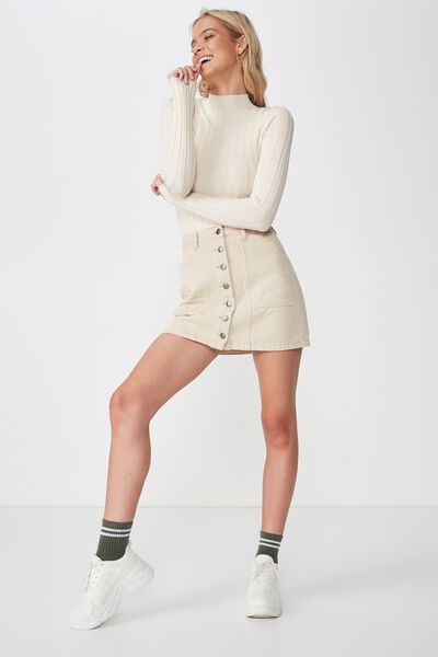 Luna Long Sleeve High Neck Knit, CREAM PUFF