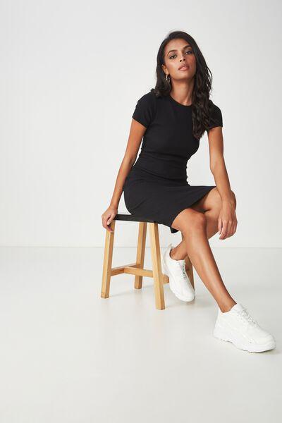 The London Rib T-Shirt Dress, BLACK
