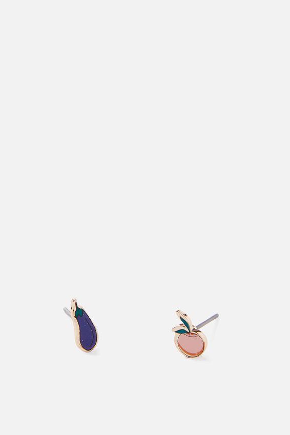 Novelty Earrings, EGGPLANT PEACH
