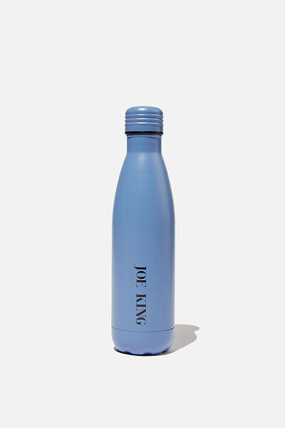 Personalised 500ml Metal Drink Bottle, BLUE GREY