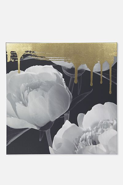 45X45 Canvas, GOLD DRIP FLORAL