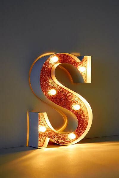Marquee Letter Lights Premium 16cm Midi, WHITE WITH ROSE GOLD S