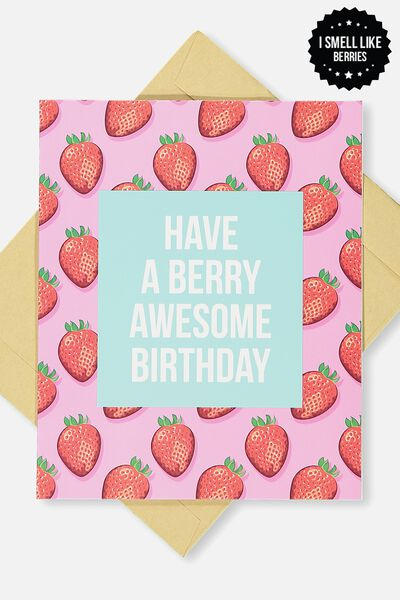 Premium Nice Birthday Card, SCENTED BERRY AWESOME