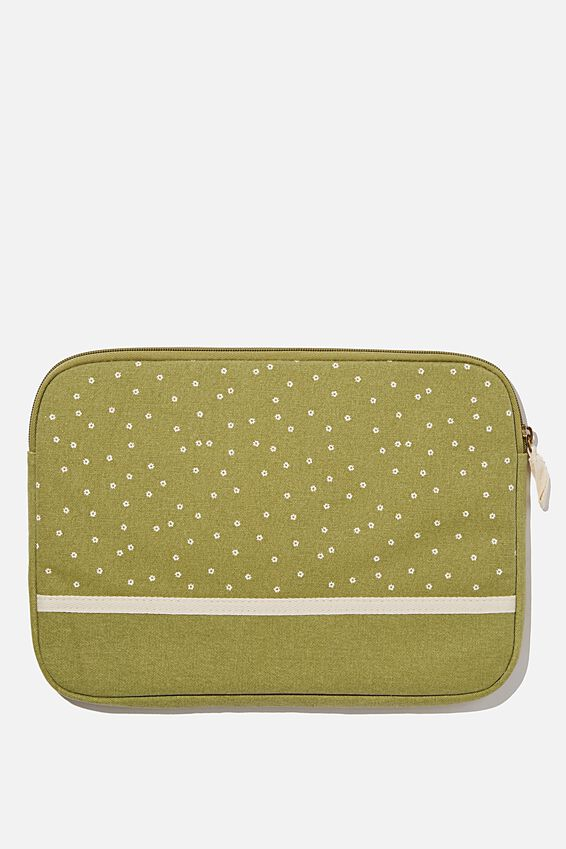 Canvas 13 Inch Laptop Case, MICRO DAISY TUSSOCK