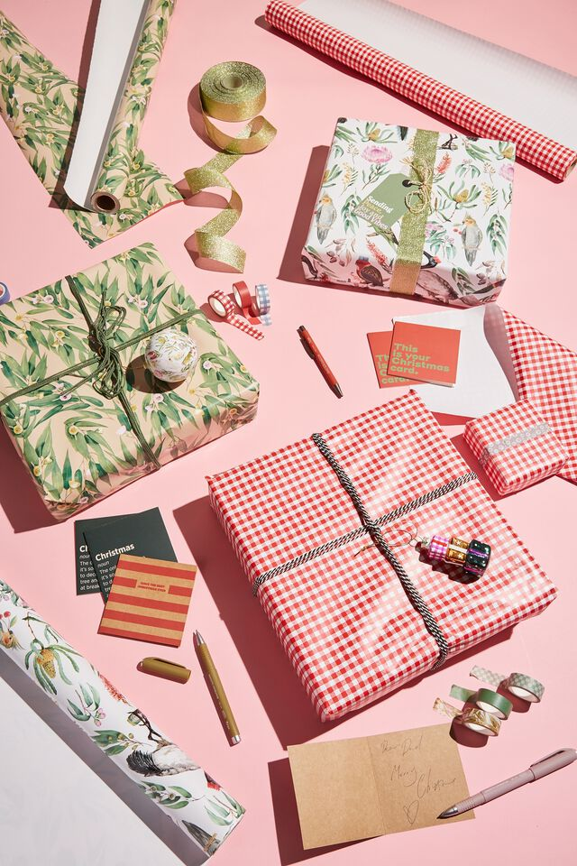 Christmas Wrapping Paper Roll, RED GINGHAM