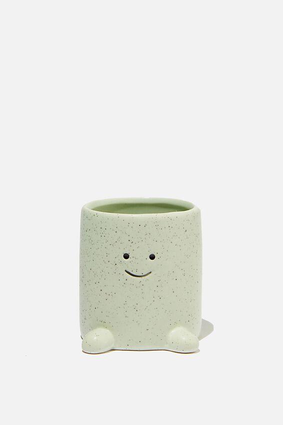 Tiny Shaped Planter, GREEN HAPPY