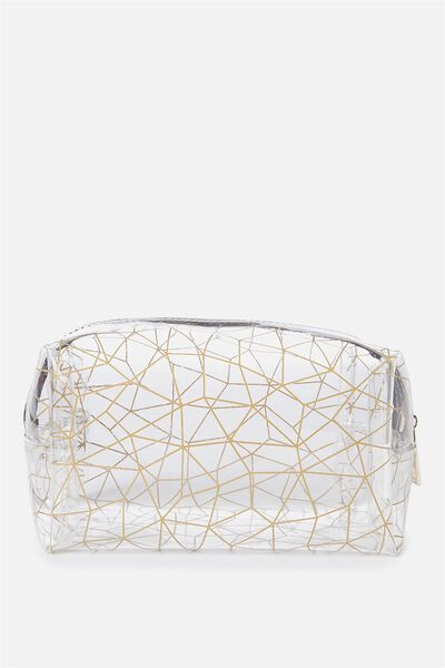 Made Up Cosmetic Bag, CLEAR GOLD FOIL