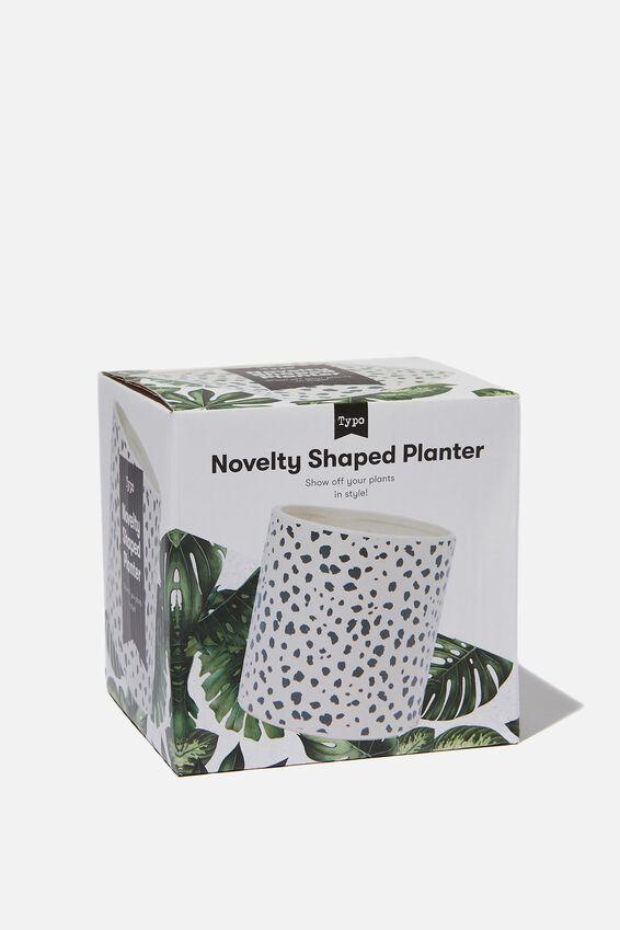 Small Shaped Planter, BLACK & WHITE SPOT
