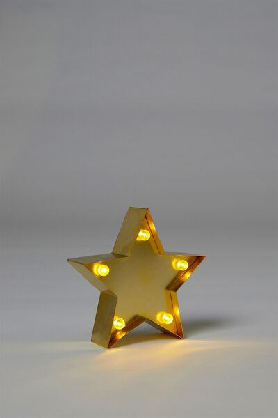 Shaped Mini Marquee Light, METALLIC GOLD STAR