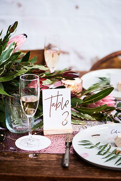Table Numbers Wooden Base, ROSE GOLD