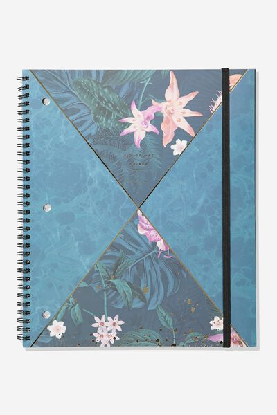 College Ruled Spinout Notebook V, JUNGLE FLORAL SPLICE