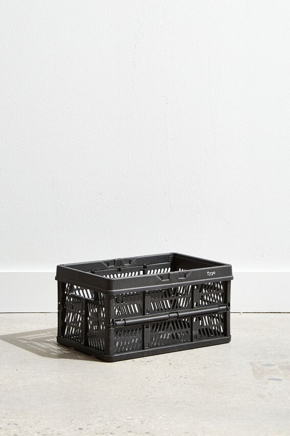 Small Foldable Storage Crate, BLACK