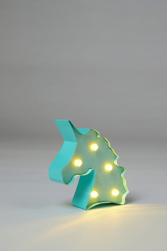 Shaped Mini Marquee Light, AQUA BLUE UNICORN