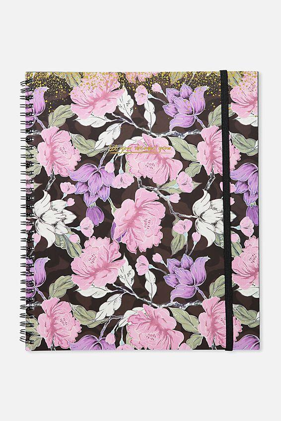 College Ruled Spinout Notebook V, SAGE FLORAL SPLATTER