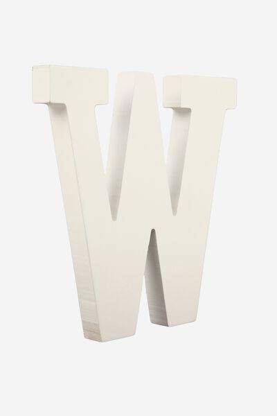 Letterpress Wooden Letter, WHITE W