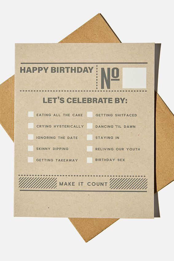 Funny Birthday Card, LET'S CELEBRATE BY LIST!