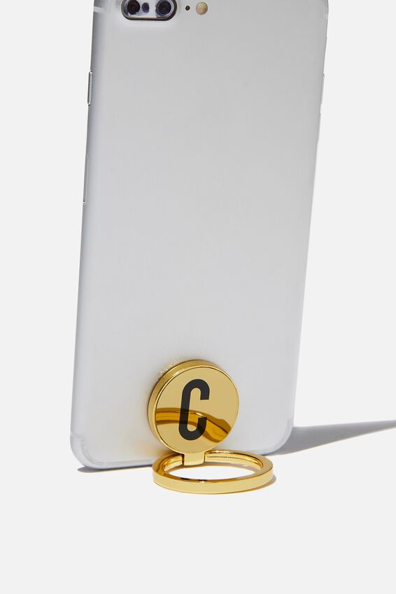 Metal Alpha Phone Ring, GOLD C
