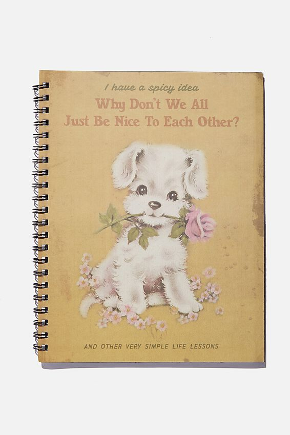 College Ruled Campus Notebook, VINTAGE DOG BE NICE TO EACH OTHER