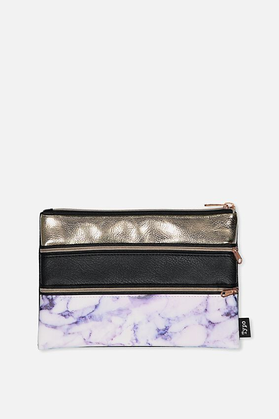 Double Archer Pencil Case, MARBLE BLACK GOLD